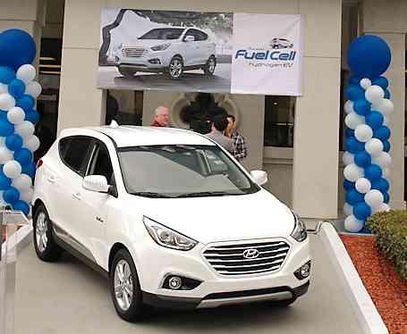 Hyundai FCV Tucson at dealership in Tustin, CA